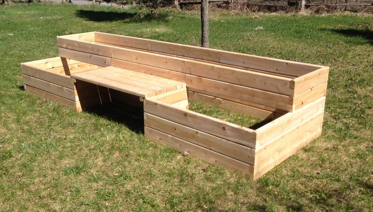 Raised Garden Bed kits with bench