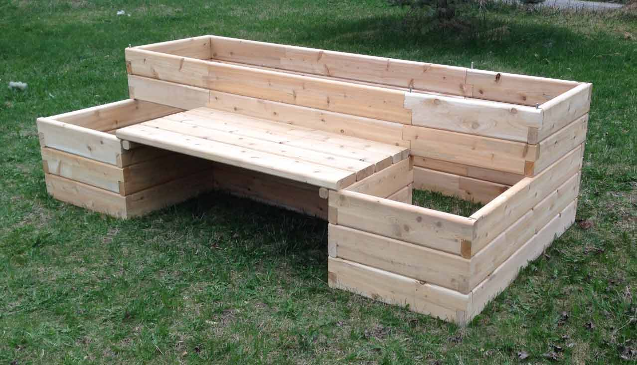 Raised garden bed kits with bench for Garden design kits