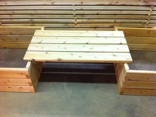 Bench for raised garden bed